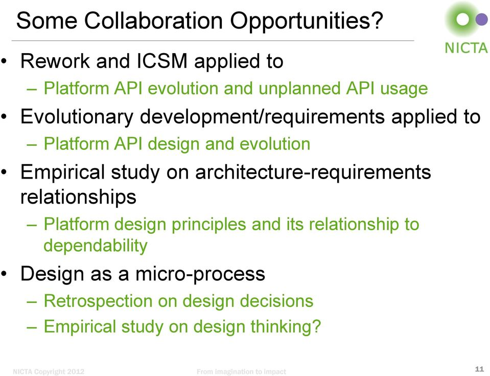development/requirements applied to Platform API design and evolution Empirical study on