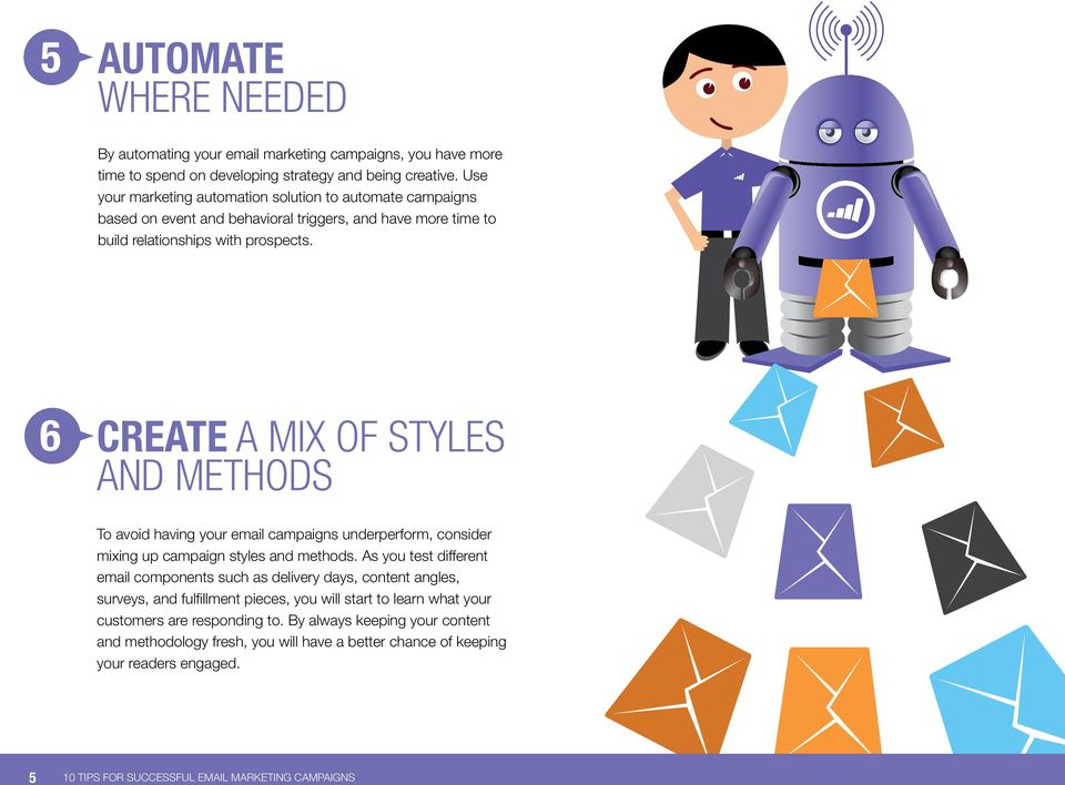 6 Create a mix of Styles and methods To avoid having your email campaigns underperform, consider mixing up campaign styles and methods.