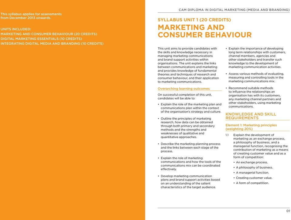 Consumer Behaviour This unit aims to provide candidates with the skills and knowledge necessary in managing marketing communications and brand support activities within organisations.