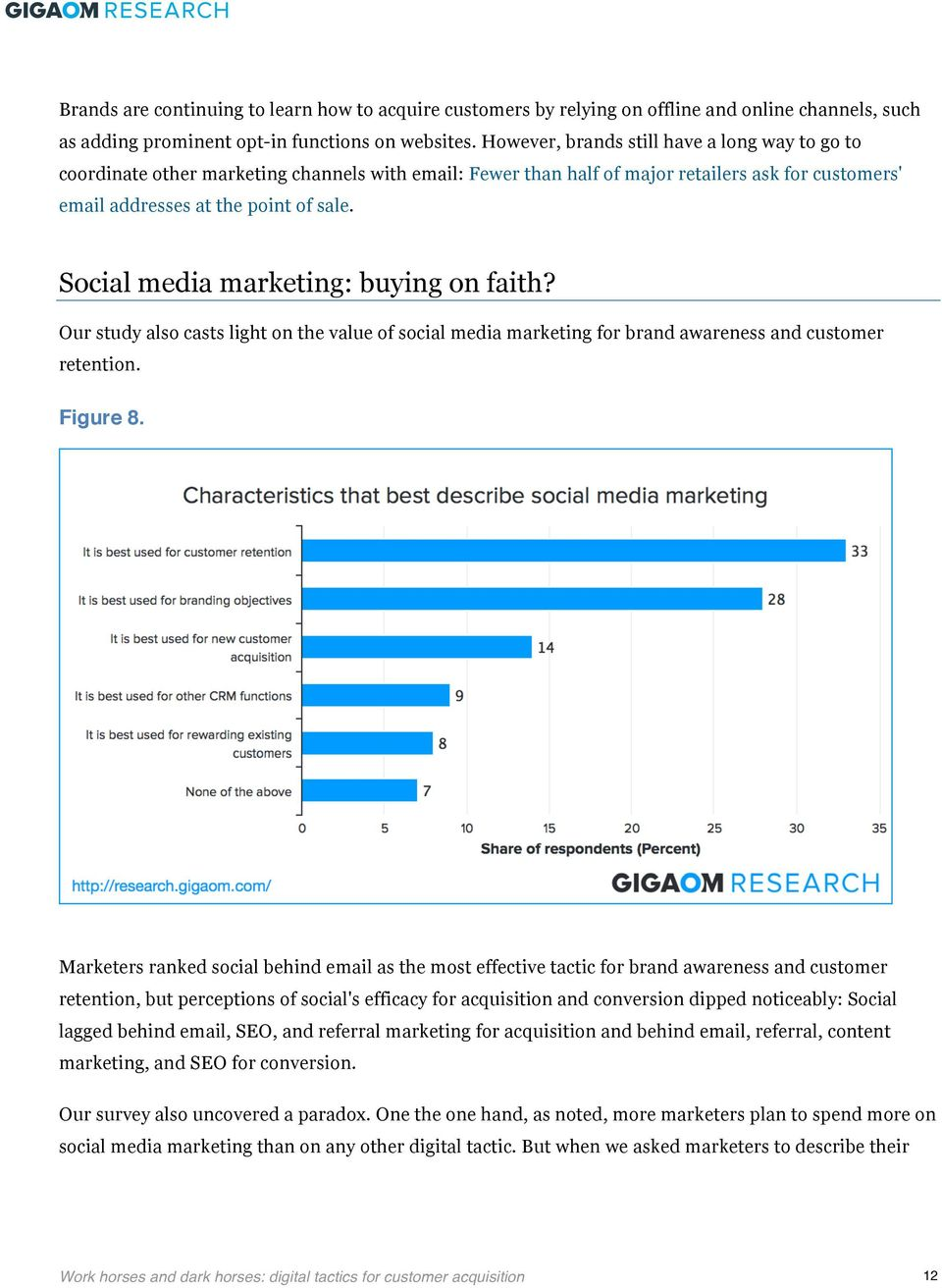 Social media marketing: buying on faith? Our study also casts light on the value of social media marketing for brand awareness and customer retention. Figure 8.