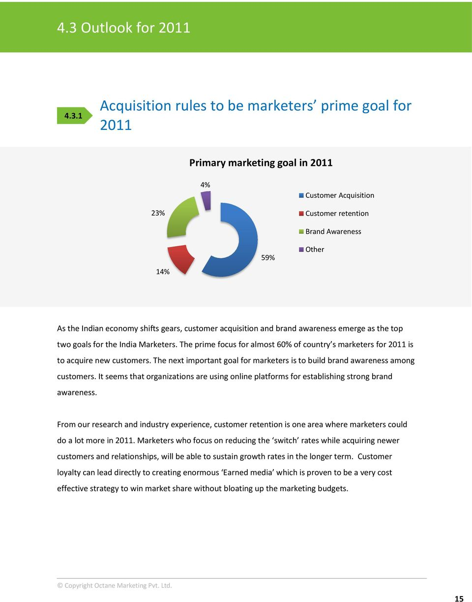 The prime focus for almost 60% of country s marketers for 2011 is to acquire new customers. The next important goal for marketers is to build brand awareness among customers.