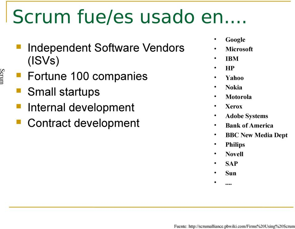 Internal development Contract development Google Microsoft IBM HP Yahoo Nokia