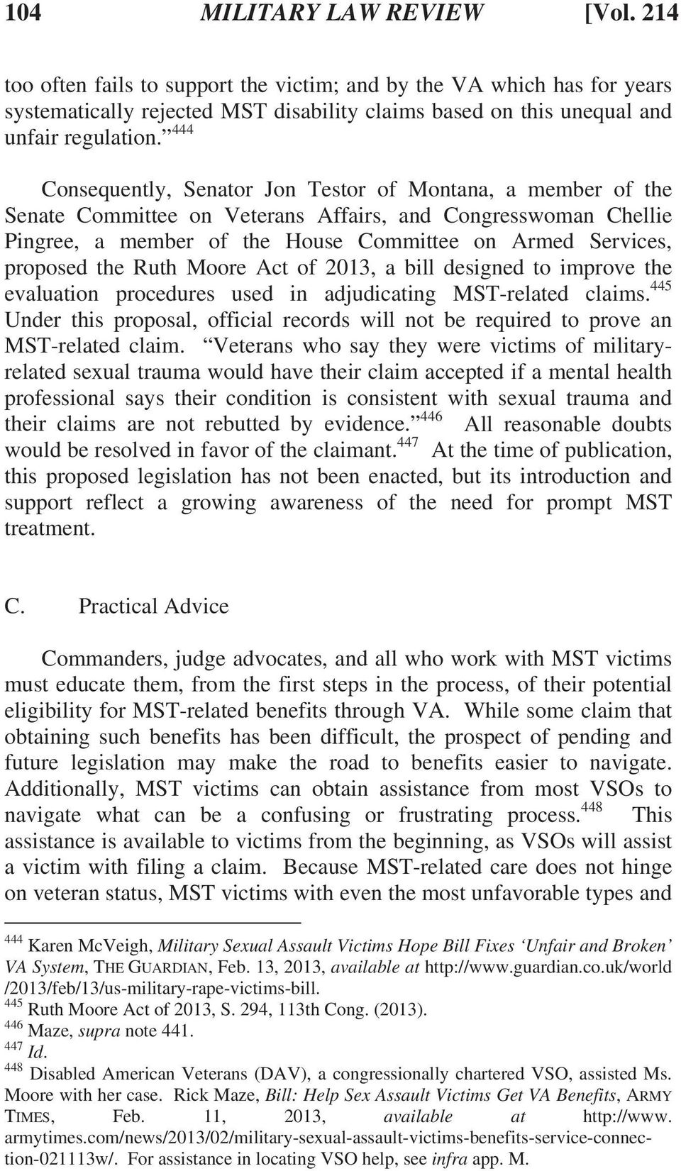 the Ruth Moore Act of 2013, a bill designed to improve the evaluation procedures used in adjudicating MST-related claims.