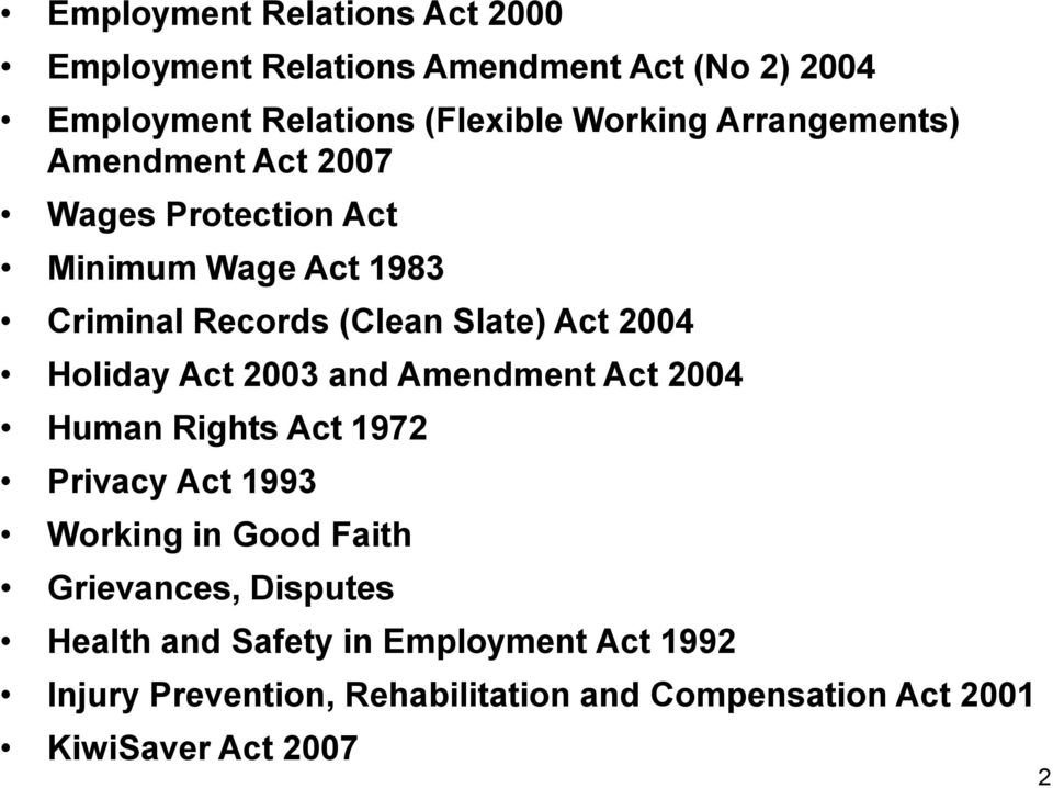 Holiday Act 2003 and Amendment Act 2004 Human Rights Act 1972 Privacy Act 1993 Working in Good Faith Grievances,