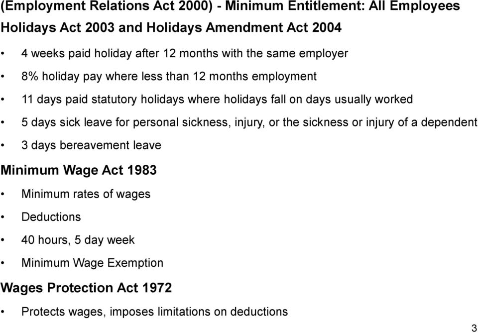 worked 5 days sick leave for personal sickness, injury, or the sickness or injury of a dependent 3 days bereavement leave Minimum Wage Act 1983