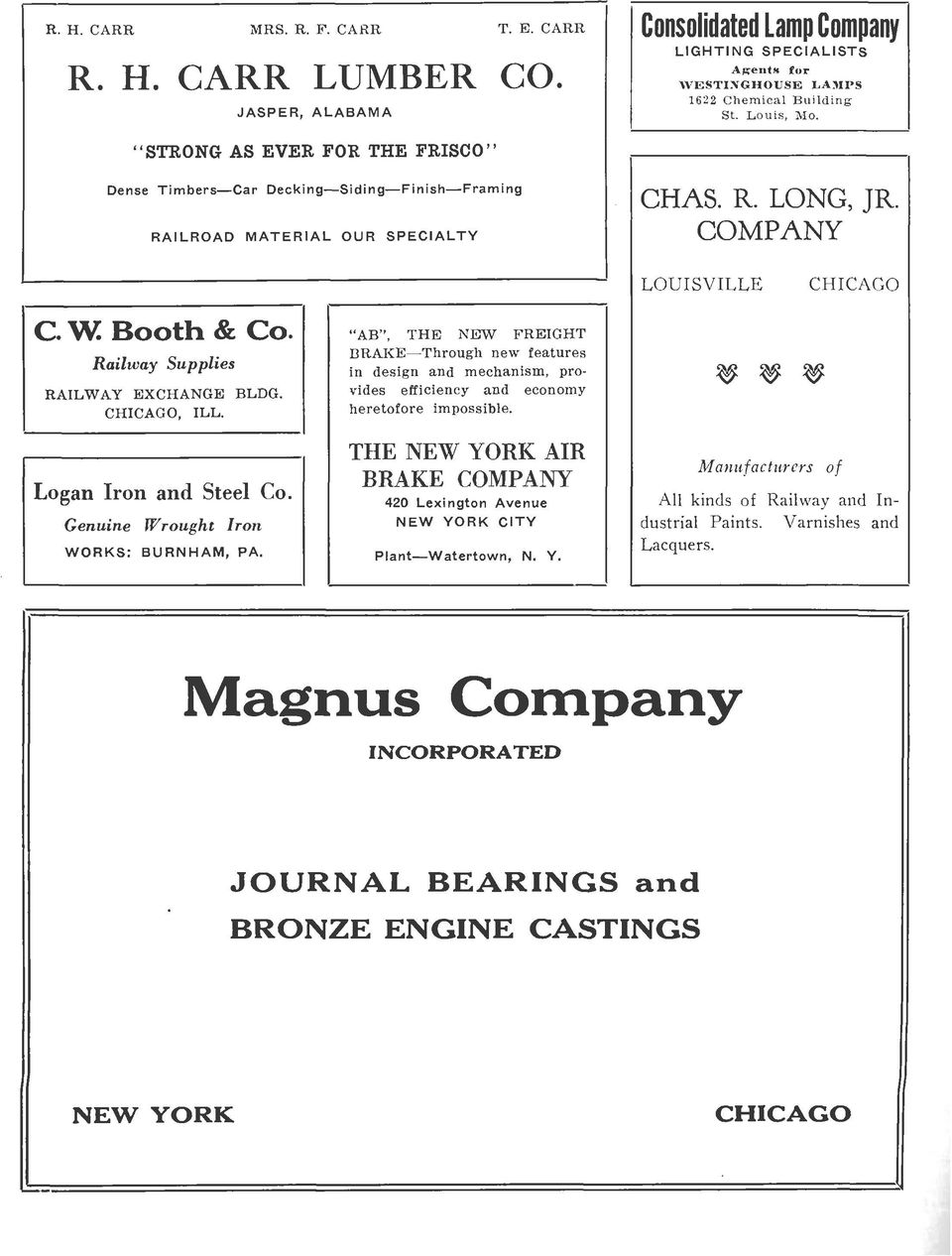 CHICAGO, ILL. Logan Iron and Steel Co. Genuine Wrought Iron WORKS: BURNHAM, PA.