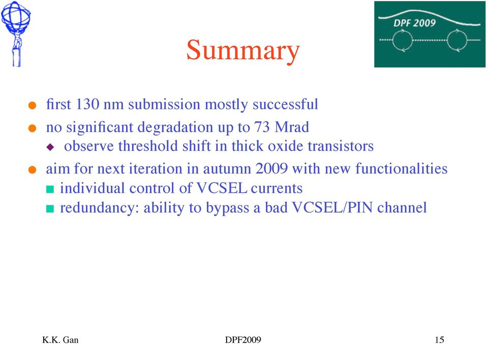 iteration in autumn 2009 with new functionalities individual control of VCSEL