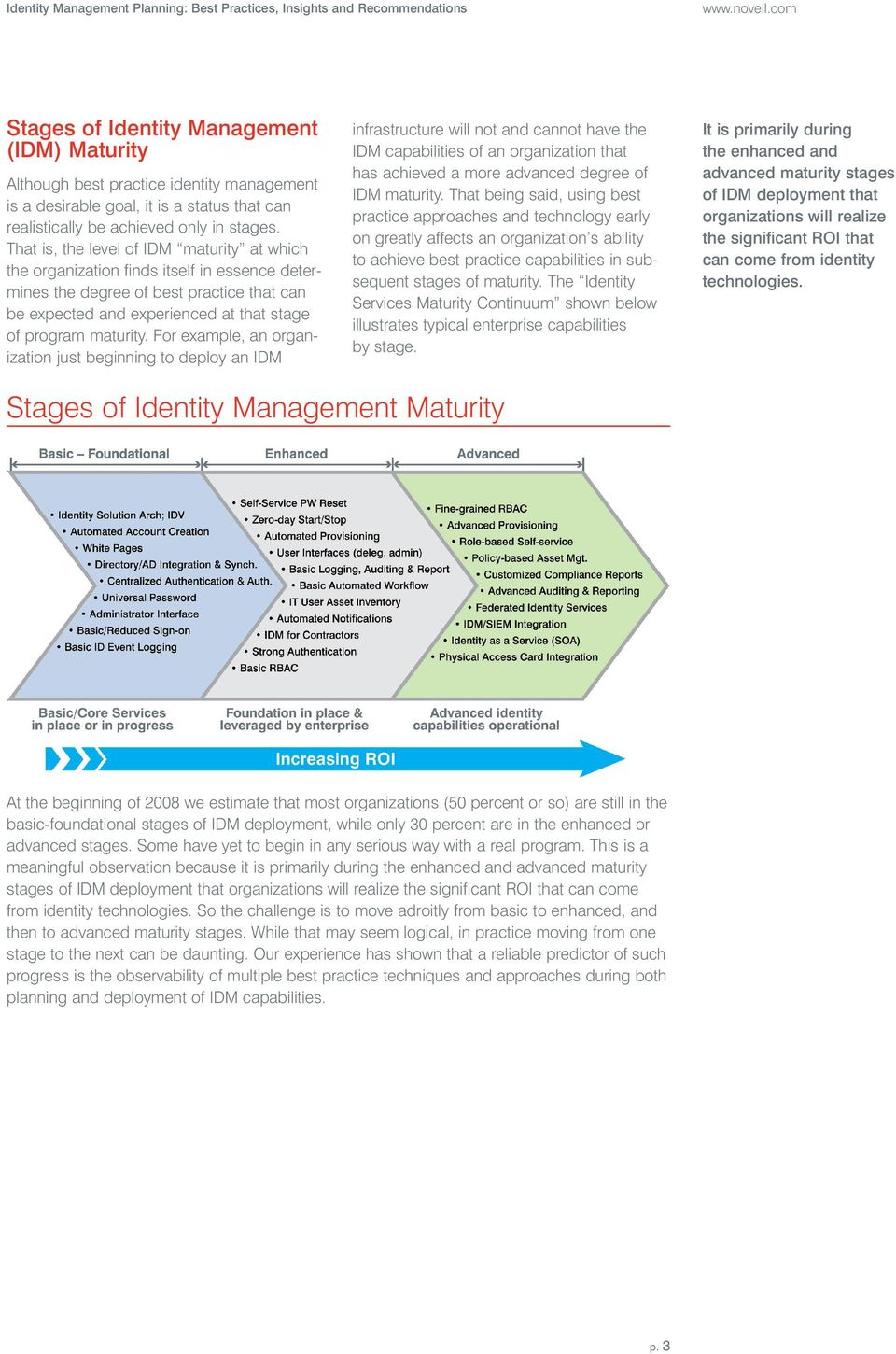 That is, the level of IDM maturity at which the organization finds itself in essence determines the degree of best practice that can be expected and experienced at that stage of program maturity.