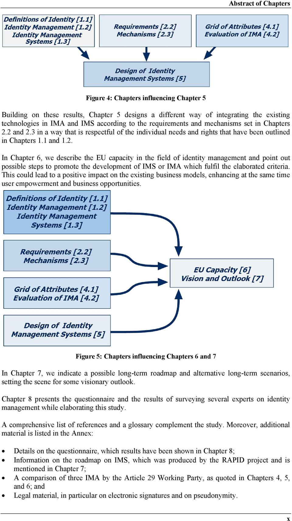 2 and 2.3 in a way that is respectful of the individual needs and rights that have been outlined in Chapters 1.1 and 1.2. In Chapter 6, we describe the EU capacity in the field of identity management and point out possible steps to promote the development of IMS or IMA which fulfil the elaborated criteria.