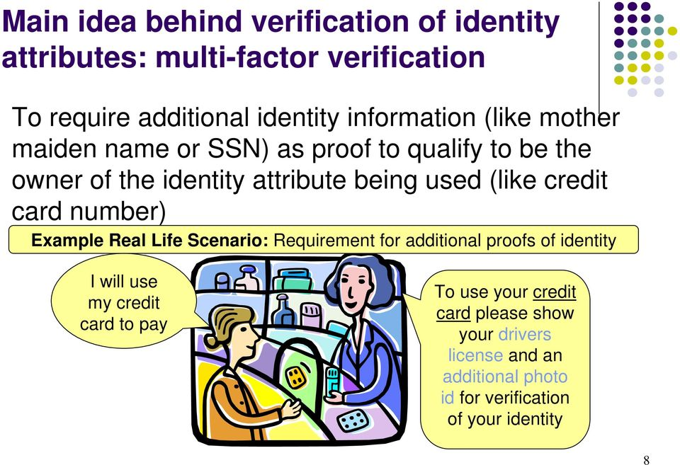 (like credit card number) Example Real Life Scenario: Requirement for additional proofs of identity I will use my credit