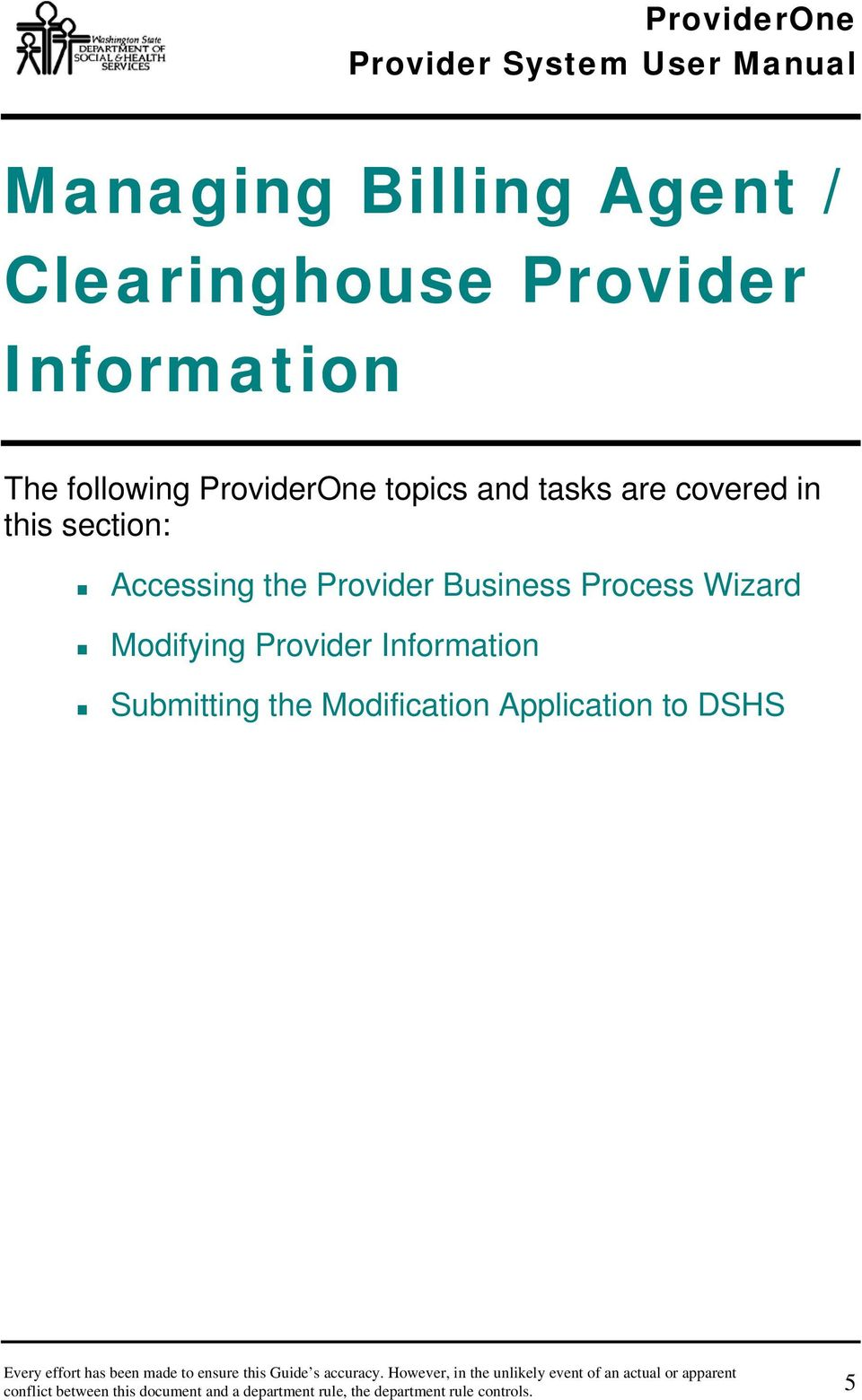 Wizard Modifying Provider Information Submitting the Modification Application to DSHS