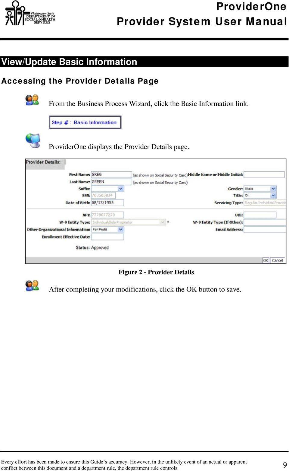 ProviderOne displays the Provider Details page.