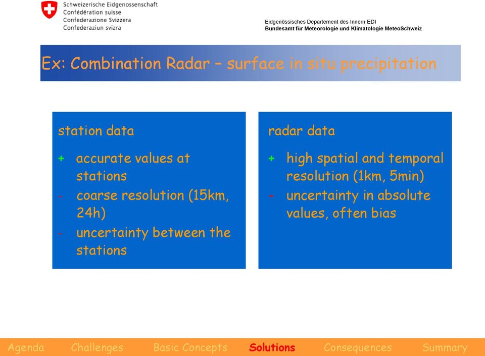 uncertainty between the stations radar data + high spatial and