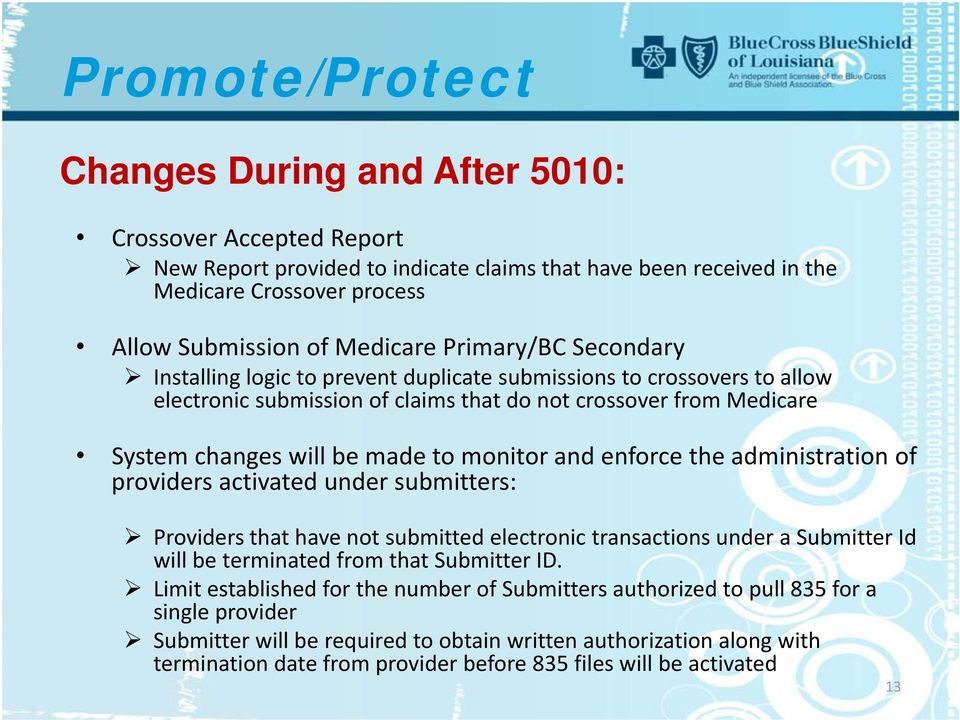 monitor and enforce the administration of providers activated under submitters: Providers that have not submitted electronic transactions under a Submitter Id will be terminated from that Submitter
