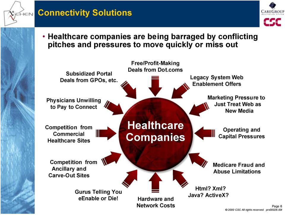 coms Healthcare Companies Legacy System Web Enablement Offers Marketing Pressure to Just Treat Web as New Media Operating and Capital Pressures
