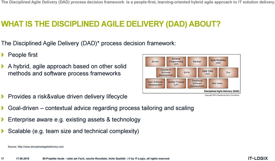 The Disciplined Agile Delivery (DAD)* process decision framework: People first A hybrid, agile approach based on other solid methods and software process