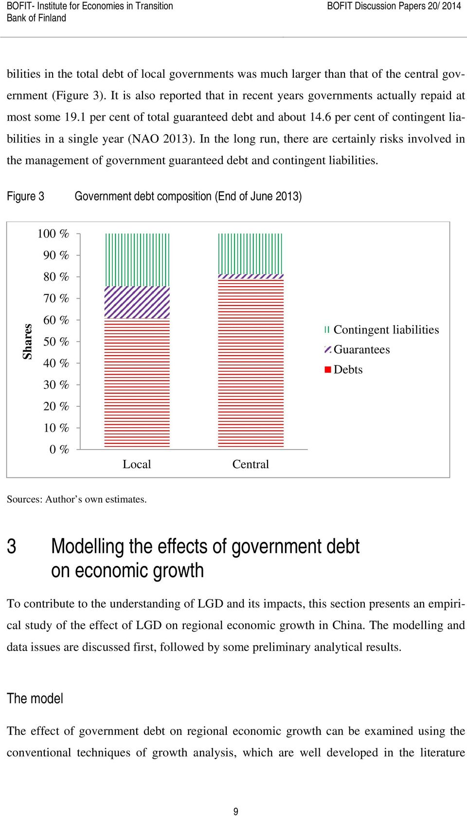 6 per cent of contingent liabilities in a single year (NAO 2013). In the long run, there are certainly risks involved in the management of government guaranteed debt and contingent liabilities.