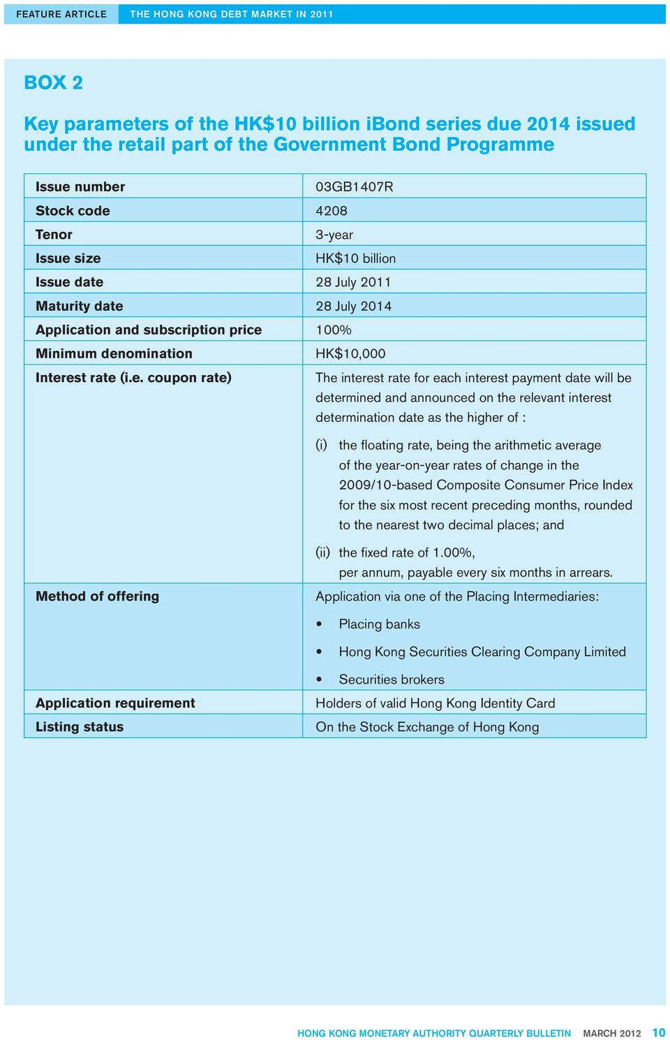 date 28 July 2011 Maturity date 28 July 2014 Application and subscription price 100% Minimum denomination Interest rate (i.e. coupon rate) HK$10,000 The interest rate for each interest payment date