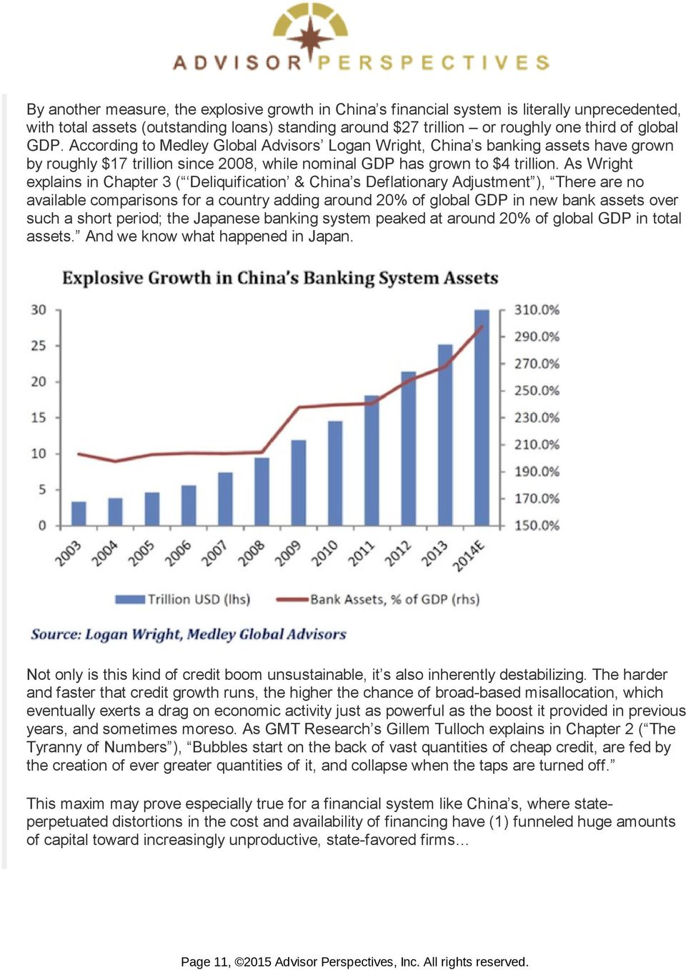 As Wright explains in Chapter 3 ( Deliquification & China s Deflationary Adjustment ), There are no available comparisons for a country adding around 20% of global GDP in new bank assets over such a