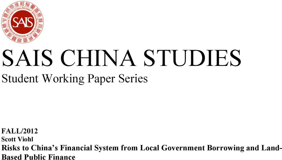 China s Financial System from Local