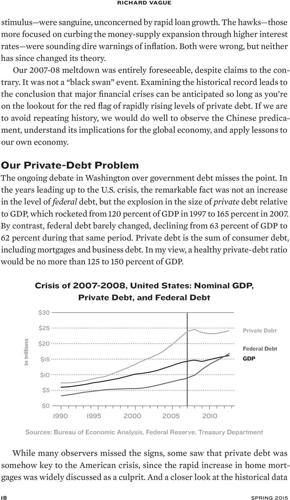 Examining the historical record leads to the conclusion that major financial crises can be anticipated so long as you re on the lookout for the red flag of rapidly rising levels of private debt.