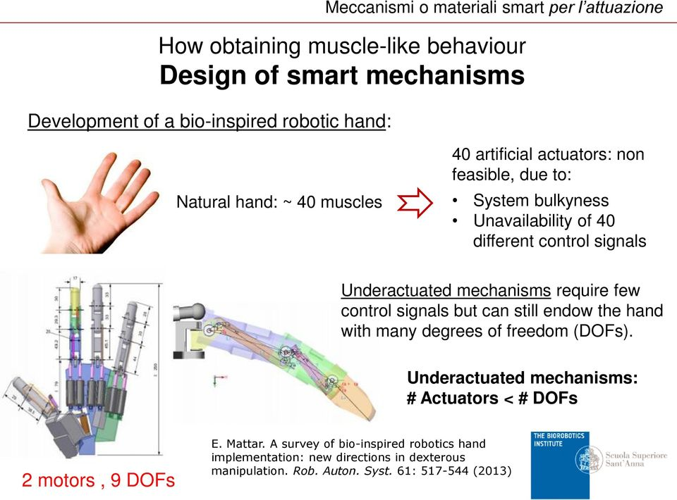 mechanisms require few control signals but can still endow the hand with many degrees of freedom (DOFs).