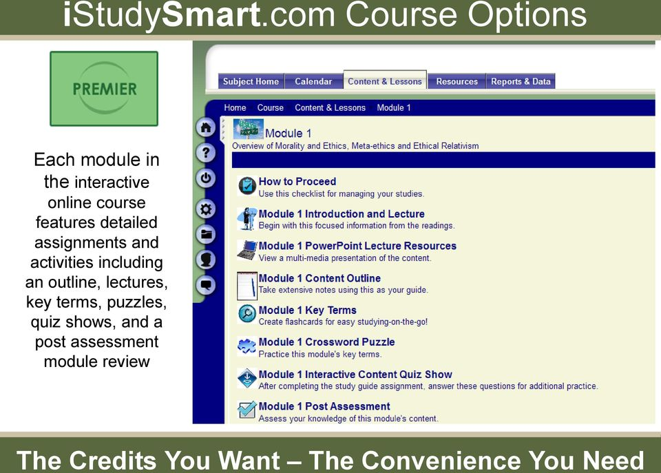 online course features detailed assignments and