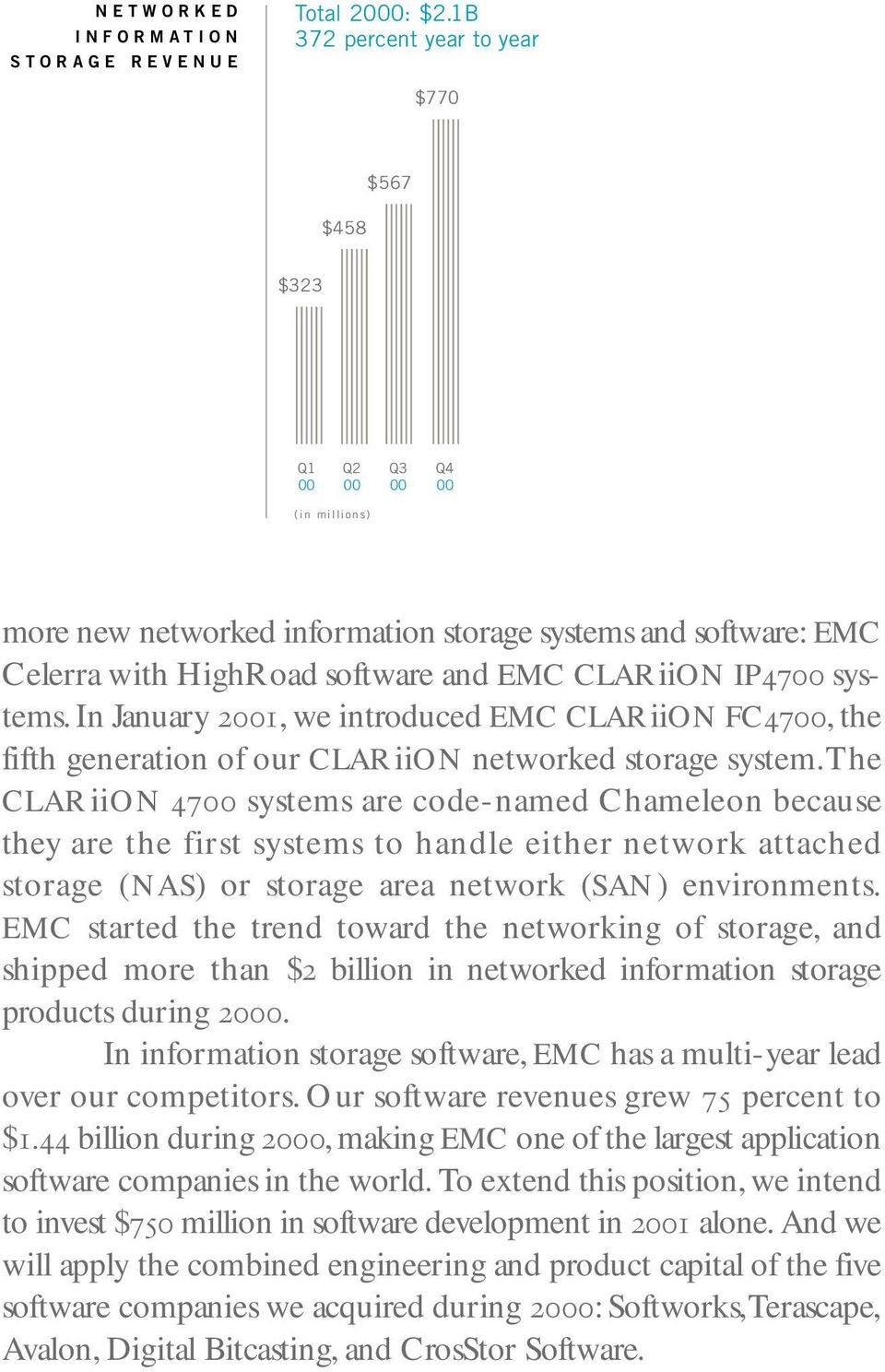 IP4700 systems. In January 2001, we introduced EMC CLARiiON FC4700, the fifth generation of our CLARiiON networked storage system.