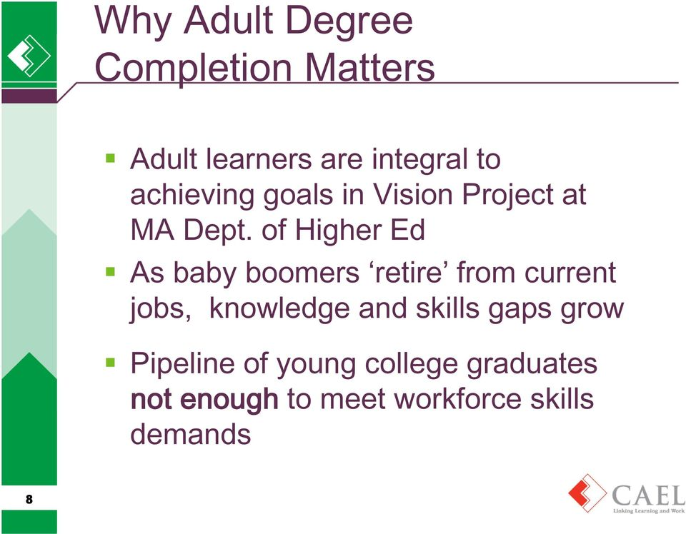 of Higher Ed As baby boomers retire from current jobs, knowledge and