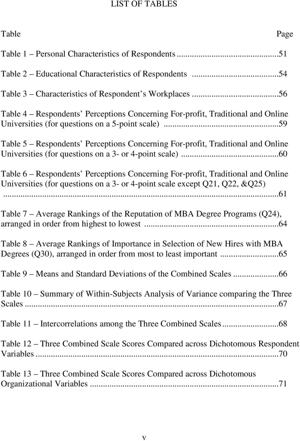..59 Table 5 Respondents Perceptions Concerning For-profit, Traditional and Online Universities (for questions on a 3- or 4-point scale).