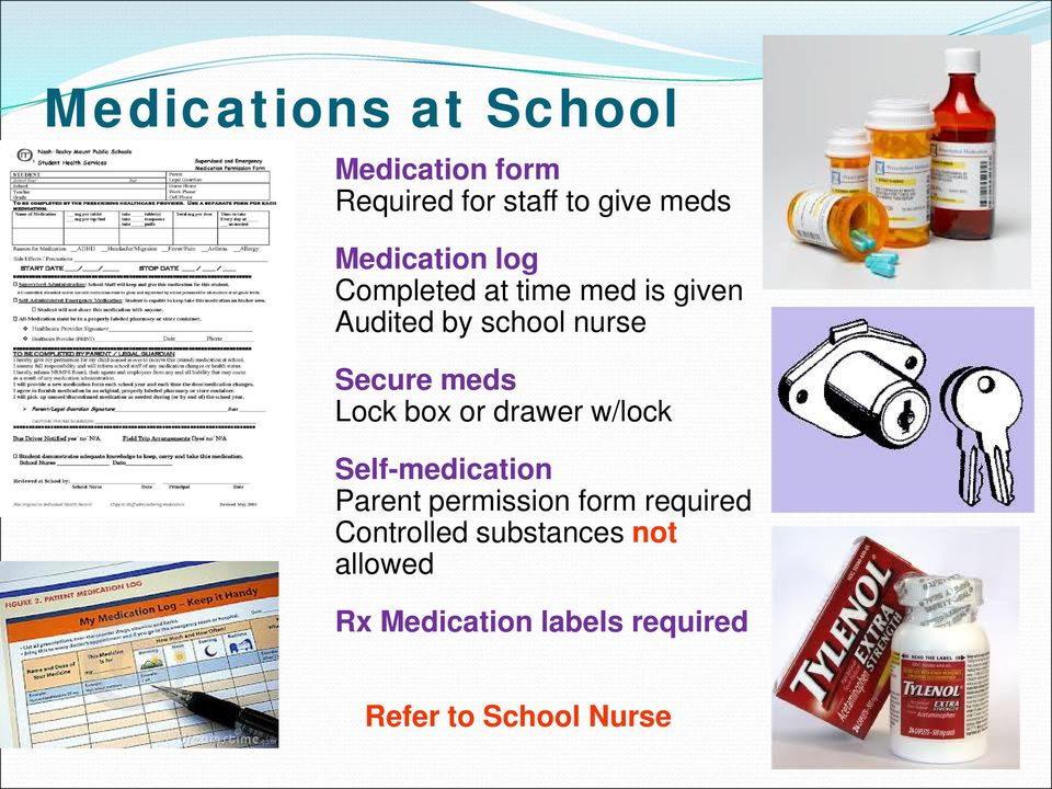 meds Lock box or drawer w/lock Self-medication Parent permission form