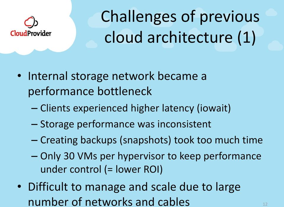 Creating backups (snapshots) took too much time Only 30 VMs per hypervisor to keep performance