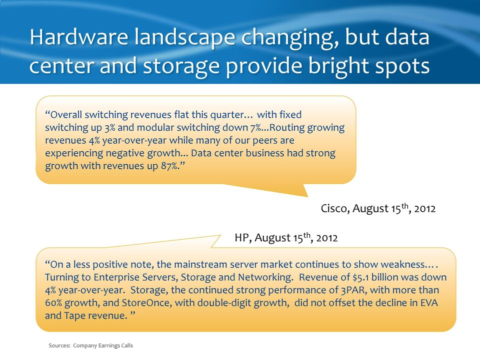 HP, August 15 th, 2012 Cisco, August 15 th, 2012 On a less positive note, the mainstream server market continues to show weakness. Turning to Enterprise Servers, Storage and Networking.