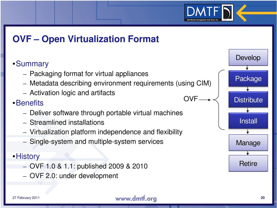 installations Virtualization platform independence and flexibility Single-system and multiple-system services History OVF 1.