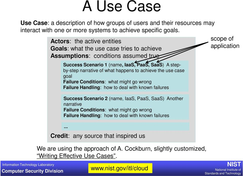 PaaS, SaaS) A stepby-step narrative of what happens to achieve the use case goal Failure Conditions: what might go wrong Failure Handling: how to deal with known failures Success Scenario 2 (name,