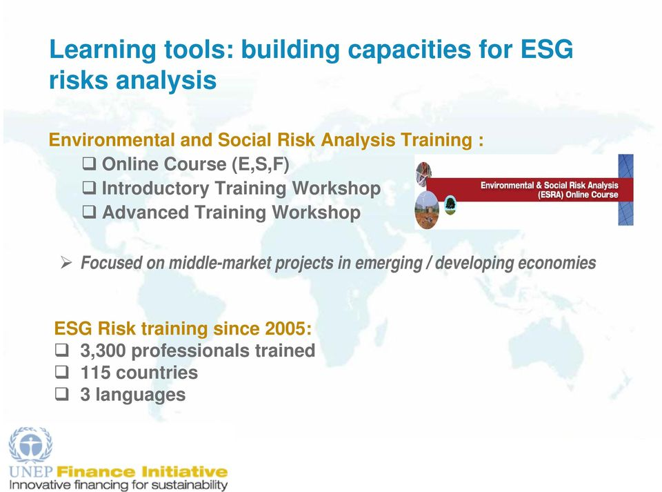 Advanced Training Workshop Focused on middle-market projects in emerging / developing