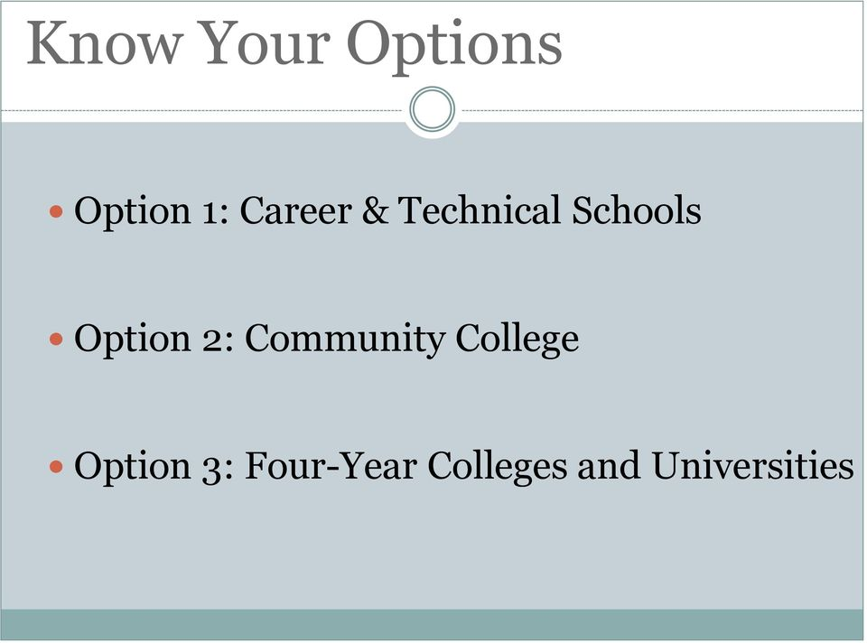 Option 2: Community College
