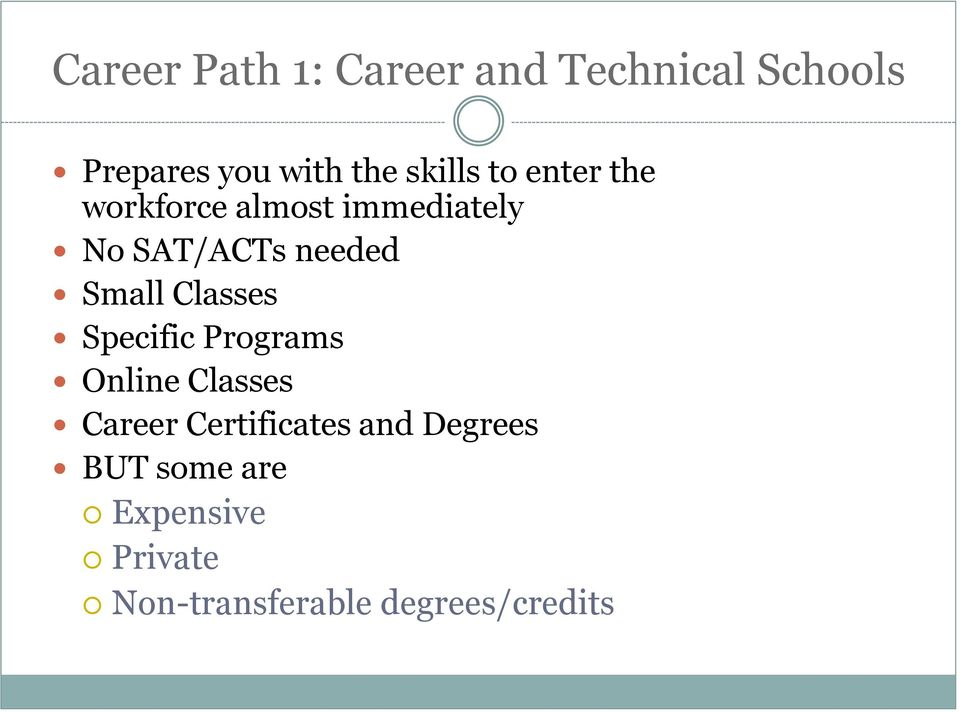 Small Classes Specific Programs Online Classes Career Certificates
