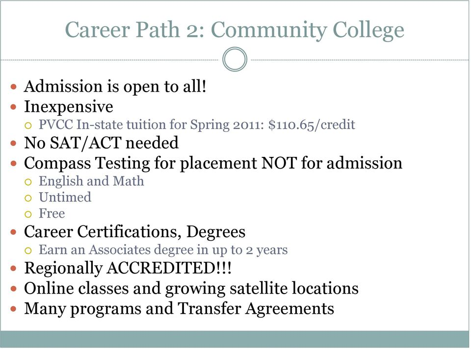 65/credit No SAT/ACT needed Compass Testing for placement NOT for admission English and Math Untimed