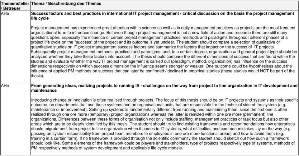 But even though project management is not a new field of action and research there are still many questions open.