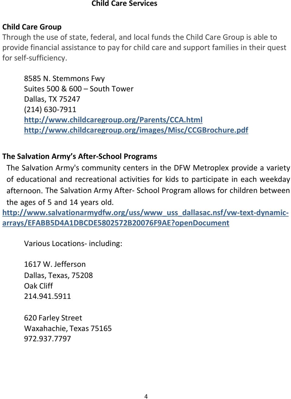 pdf The Salvation Army s After School Programs The Salvation Army's community centers in the DFW Metroplex provide a variety of educational and recreational activities for kids to participate in each