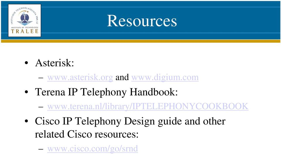 nl/library/iptelephonycookbook Cisco IP Telephony