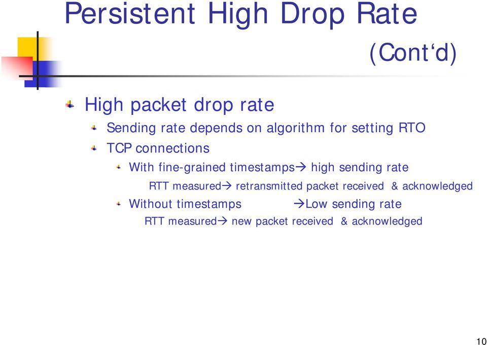 sending rate RTT measured retransmitted packet received & acknowledged Without