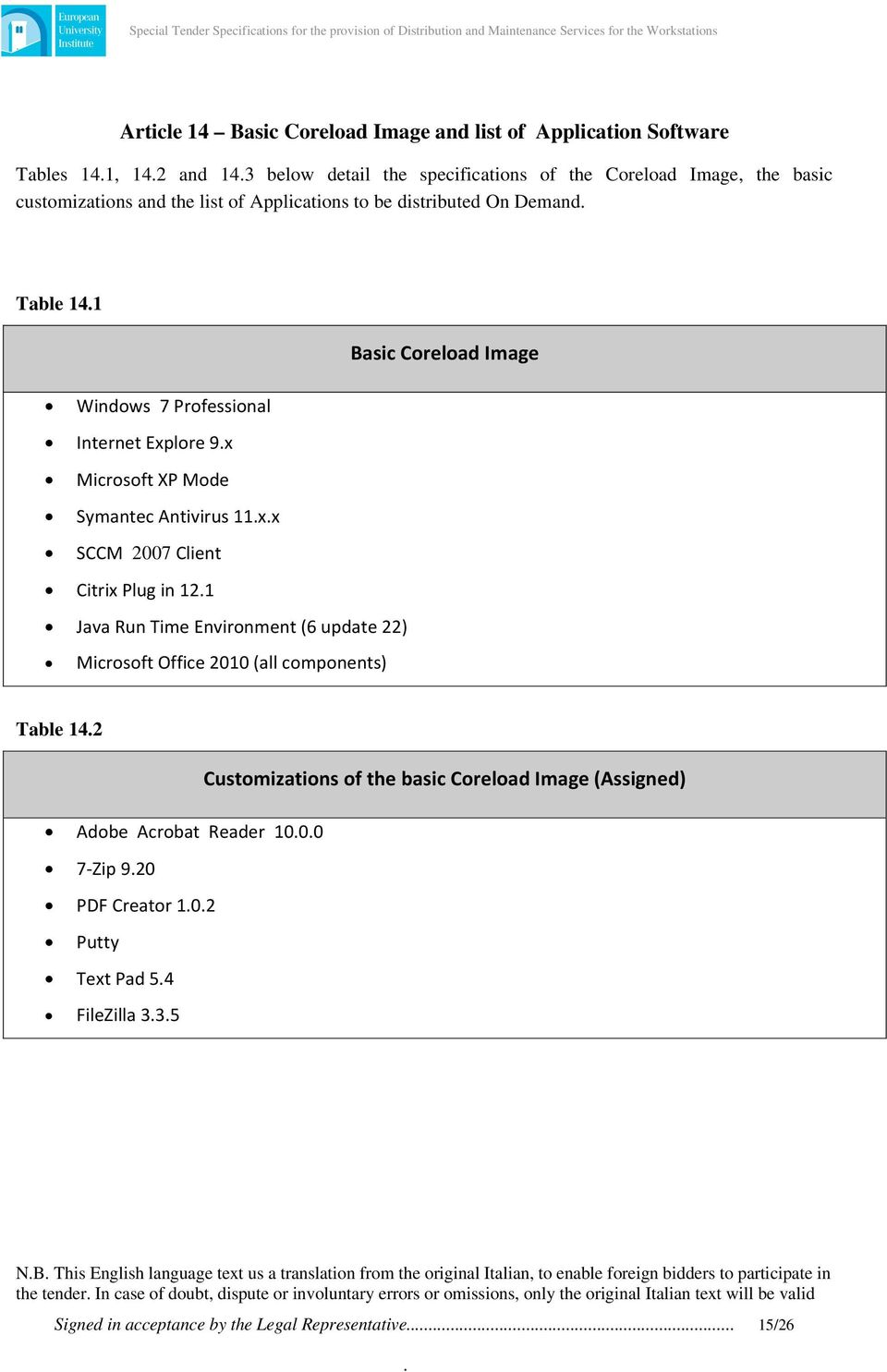 Java Run Time Environment (6 update 22) Microsoft Office 2010 (all components) Table 142 Customizations of the basic Coreload Image (Assigned) Adobe Acrobat Reader 1000 7 Zip 920 PDF Creator 102