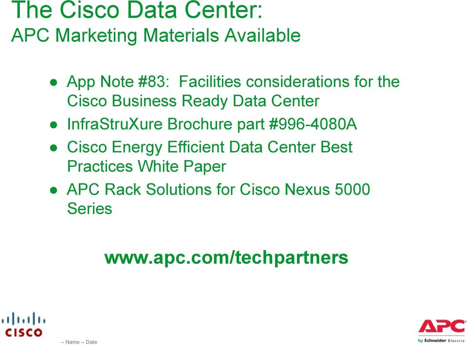 InfraStruXure Brochure part #996-4080A Cisco Energy Efficient Data Center