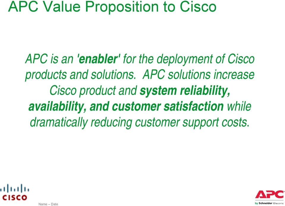 APC solutions increase Cisco product and system reliability,