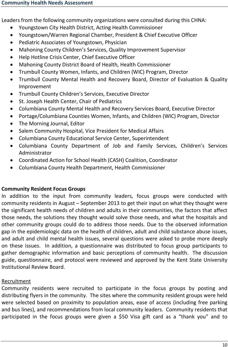 District Board of Health, Health Commissioner Trumbull County Women, Infants, and Children (WIC) Program, Director Trumbull County Mental Health and Recovery Board, Director of Evaluation & Quality