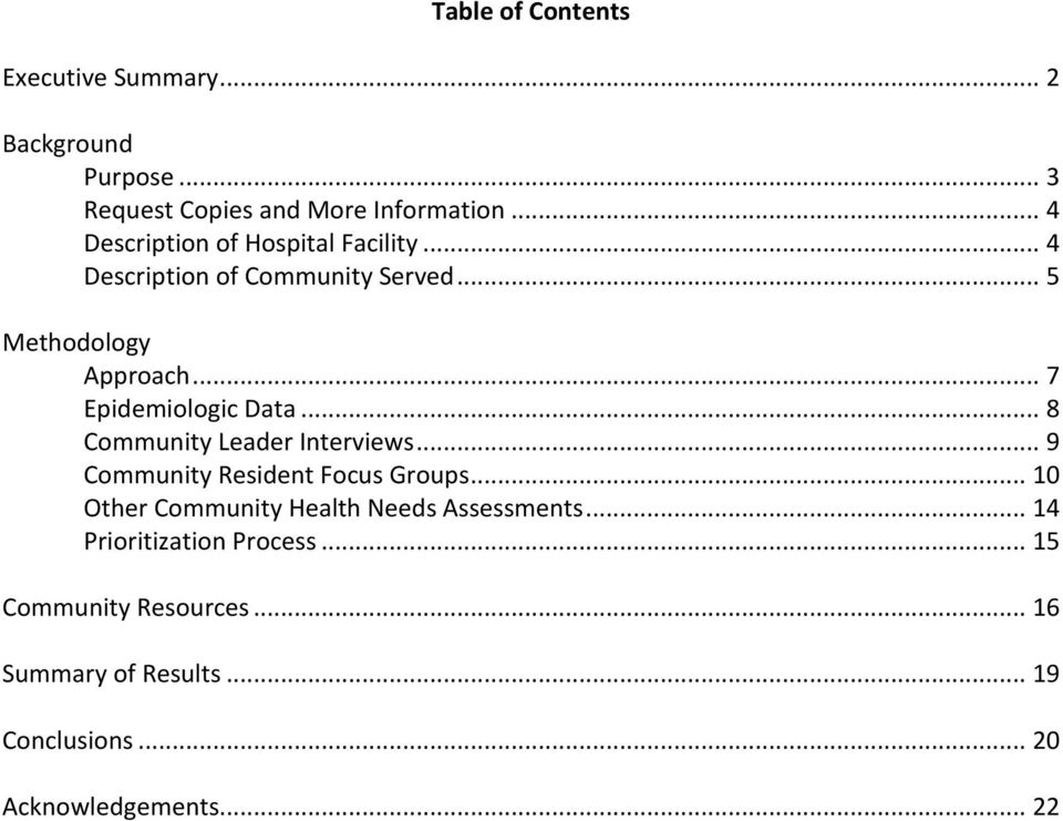 .. 7 Epidemiologic Data... 8 Community Leader Interviews... 9 Community Resident Focus Groups.