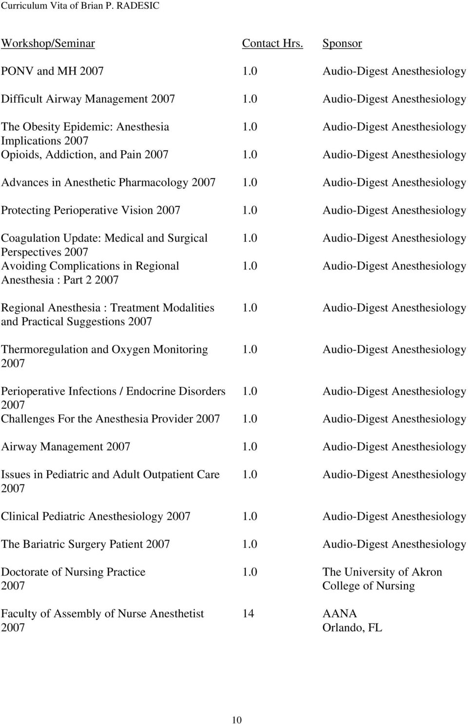 Perioperative Vision 2007 Coagulation Update: Medical and Surgical Perspectives 2007 Avoiding Complications in Regional Anesthesia : Part 2 2007 Regional Anesthesia : Treatment Modalities and