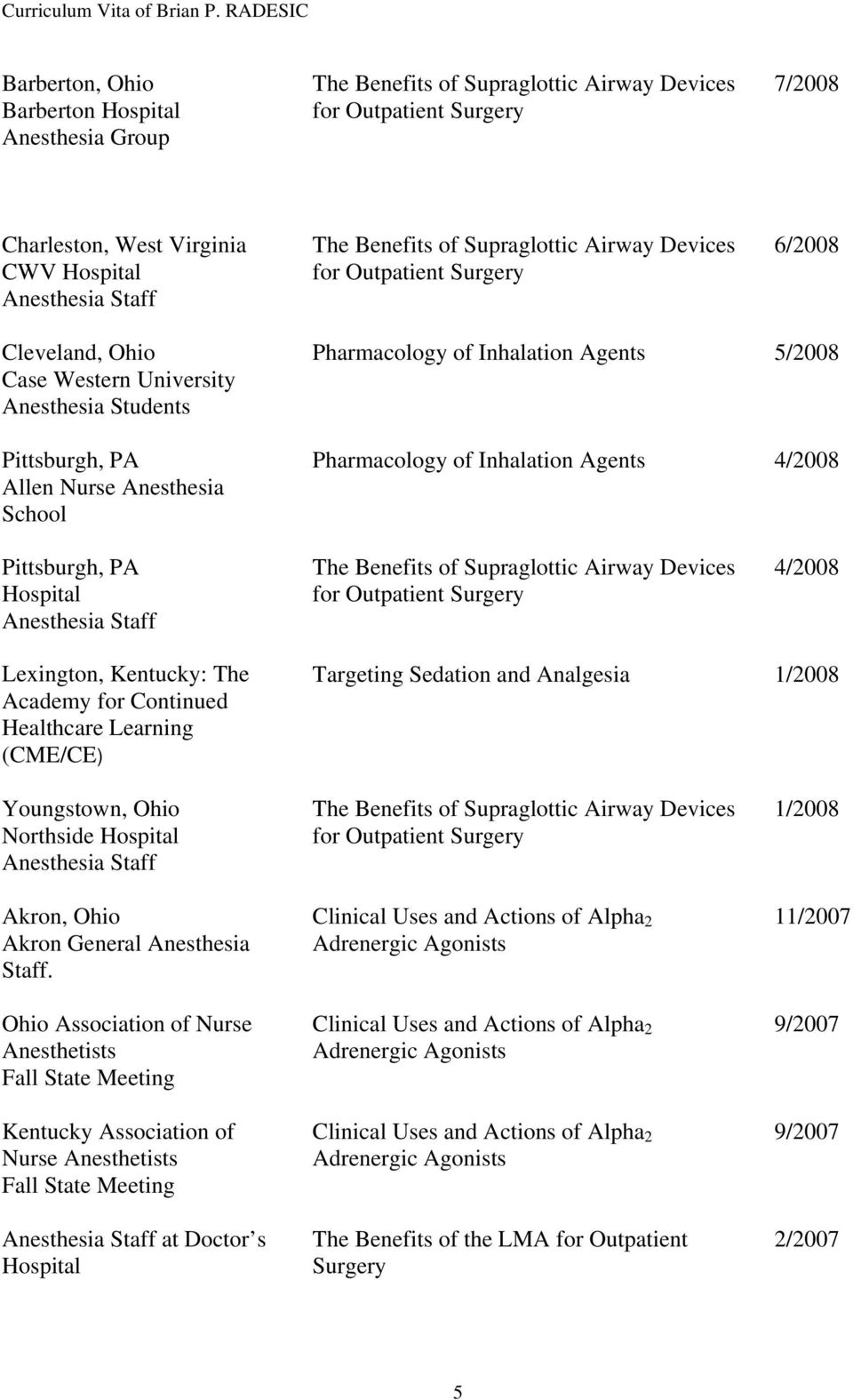 School Pharmacology of Inhalation Agents 4/2008 Pittsburgh, PA Hospital Anesthesia Staff The Benefits of Supraglottic Airway Devices for Outpatient Surgery 4/2008 Lexington, Kentucky: The Academy for